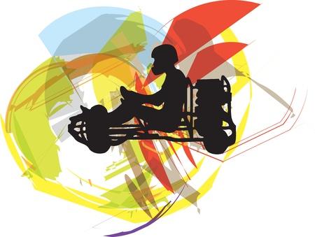 go kart: Kart race. Vector illustration