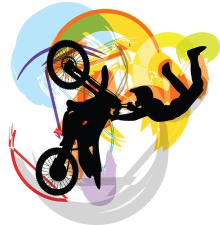 stunts: Disegno astratto di biker Vettoriali