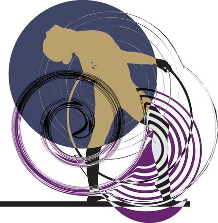 fitness dance: Acrobatic girl illustration