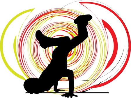hip hop dance: Breakdancer dancing on hand stand silhouette Illustration