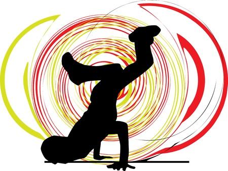break dance: Breakdancer dancing on hand stand silhouette Illustration