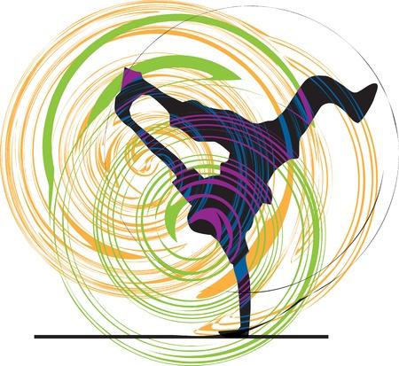 breakdance: Breakdancer dancing on hand stand silhouette Illustration