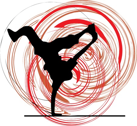 handstand: Breakdancer dancing on hand stand silhouette Illustration