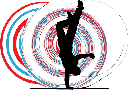 Breakdancer dancing on hand stand silhouette Stock Vector - 10936955