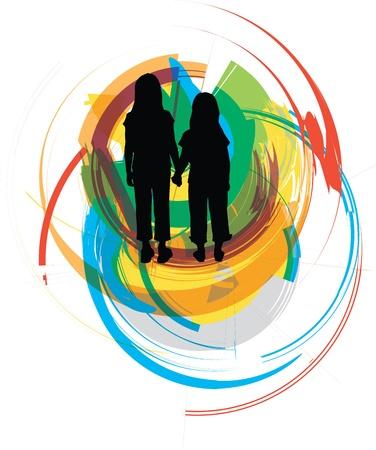 teenage couple: friends. Editable Vector Illustration
