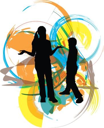 teenage girl happy: Friends. Editable Vector Illustration