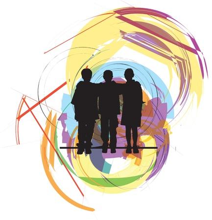 young people group: Gli amici. Illustrazione vettoriale modificabile Vettoriali
