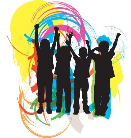 enfants noirs: Amis. Illustration Vecteur modifiable Illustration