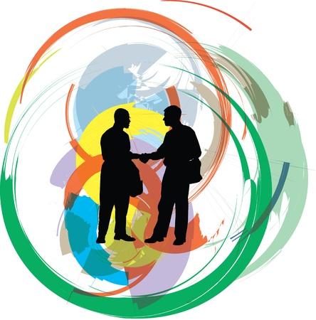 mani che si stringono: uomini d'affari illustrazione