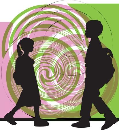 school life: Friends. Editable Vector Illustration