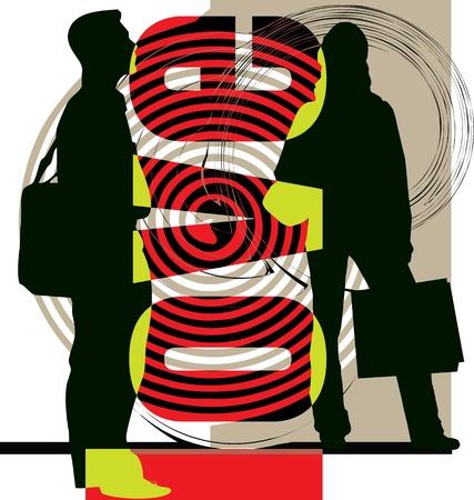 office romance: Couple illustration
