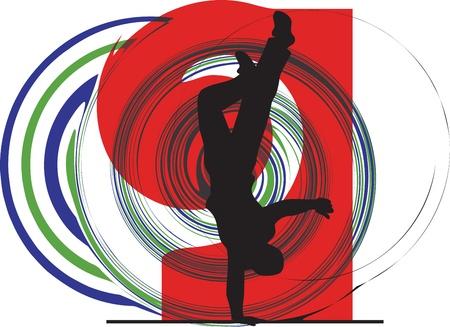 breakdancer illustration Vector