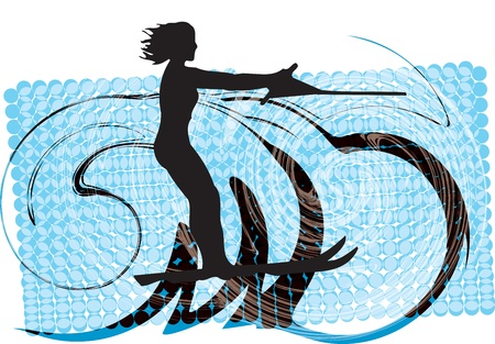 water skiing: Water skiing woman illustration