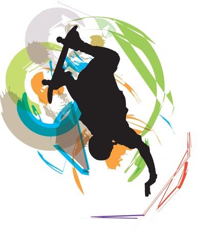 �jumping: Skater ilustraci�n. Ilustraci�n vectorial