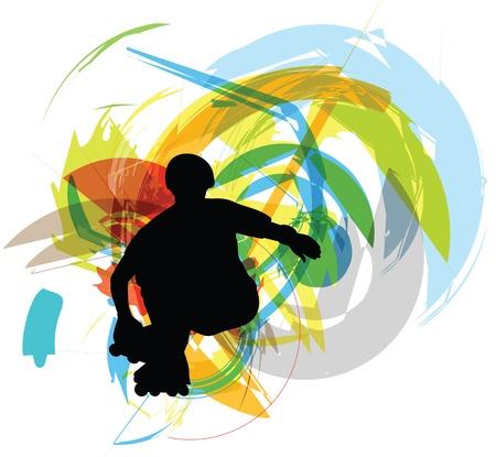 ni�o en patines: Skater ilustraci�n