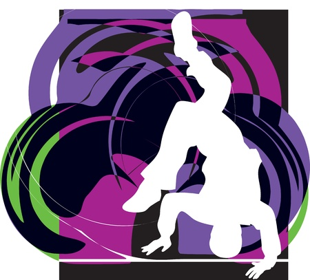 hand on hip: breakdancer illustration