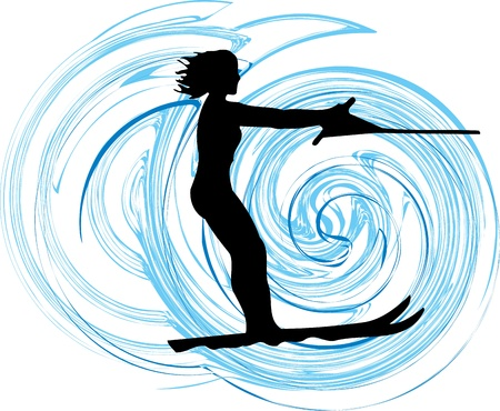 water skiing: Skiing illustration