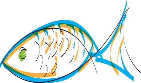outline fish: Fish. Vector illustration