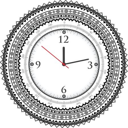 old timer: Vintage ancient clock Illustration