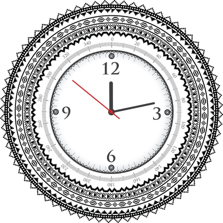 analog dial: Vintage ancient clock Illustration