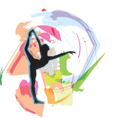 flexible woman: Dancing illustration Illustration