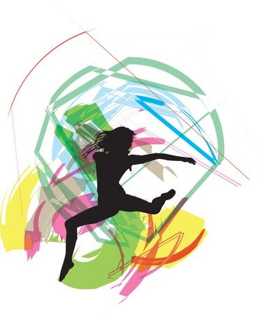 flexible woman: Bailando ilustraci�n Vectores