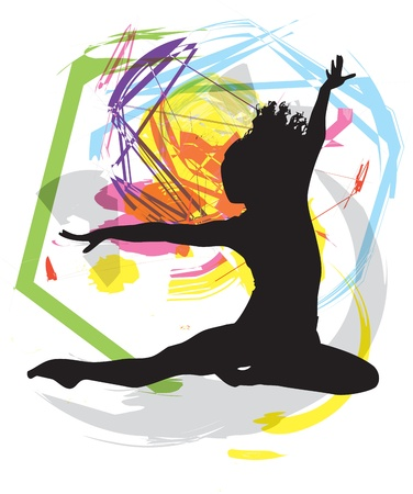 danza contemporanea: Bailando ilustración Vectores
