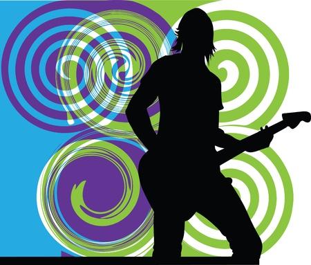 guitarra sexy: Hombre tocando la guitarra el�ctrica. Ilustraci�n vectorial editable