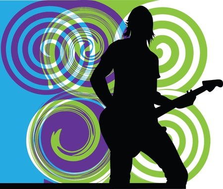 famous star: Man playing electrical guitar. Editable vector illustration