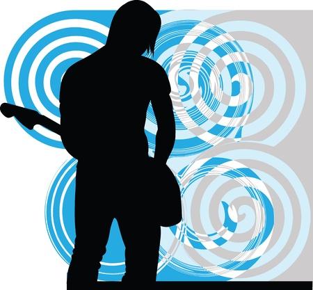 man playing guitar: Man playing electrical guitar. Editable vector illustration