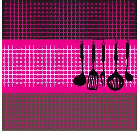 Rack von Küchenutensilien