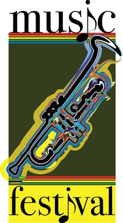 trombones: Music festival illustration Illustration
