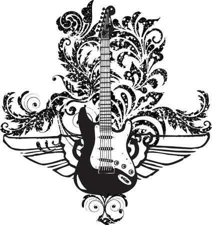 guitarra clásica: Dise�o de guitarra el�ctrica Vectores