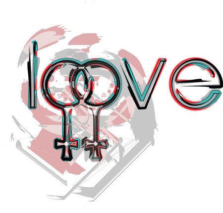 Lesbianas símbolos de amor Foto de archivo - 10969282