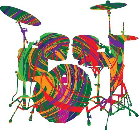 pilas: ilustraci�n de un conjunto de tambor Vectores