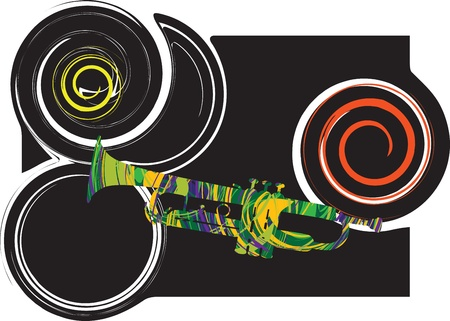 polyphony: Abstract trumpet illustration