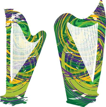 Abstract harp illustration Stock Vector - 10969115
