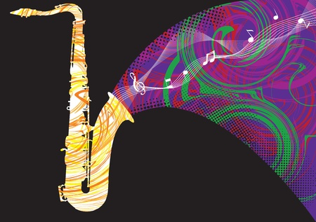 Abstract saxophone illustration Stock Vector - 10969349