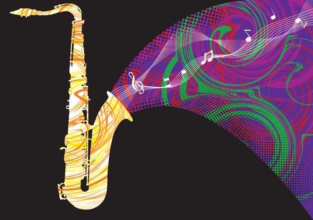 accords: Abstract saxophone illustration Illustration