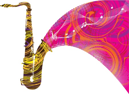 decibels: Abstract saxophone illustration Illustration