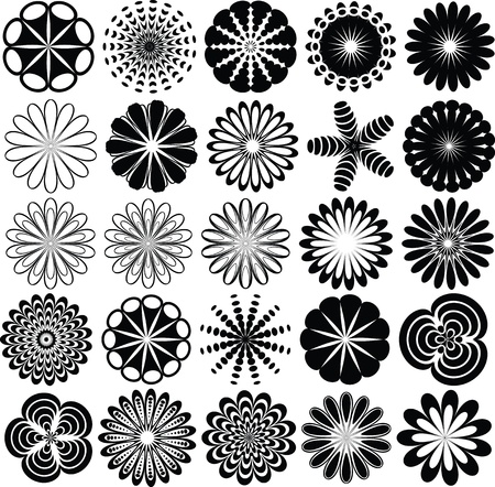Collection of abstract flowers silhouette Vector