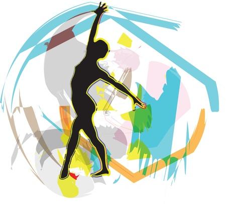 flexible woman: Dancing. Ilustraci�n vectorial