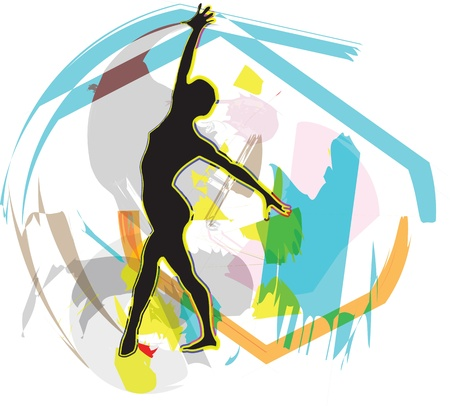 flexible woman: Dancing. Vector illustration