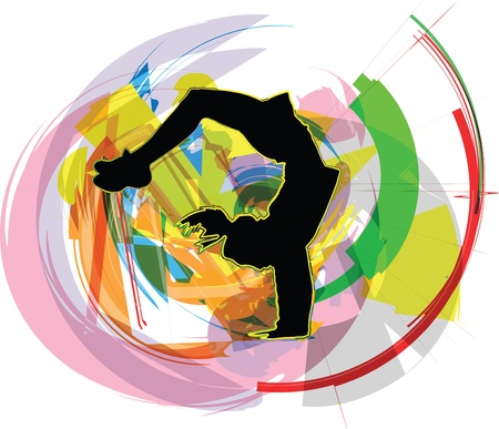 Acrobatic girl illustration Stock Vector - 11000152