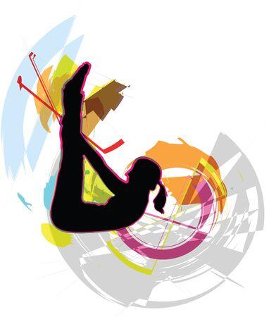 flexible woman: Ilustraci�n muchacha Acrob�tico