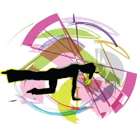 gym dress: Acrobatic girl illustration