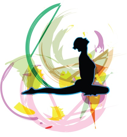 stretch: Acrobatic girl illustration