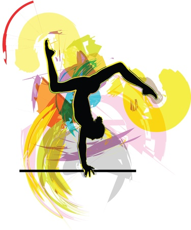 acrobatic: Acrobatic girl illustration