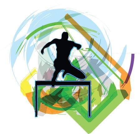 long jump: Athlete. Vector illustration