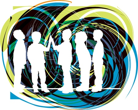 teenagers group: Friends. Editable Vector Illustration